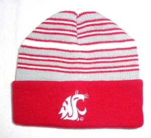 14ecc9b15 Details about Washington State Cougars NCAA Youth Beanie Hat Cap Red Cuff  Red Gray White
