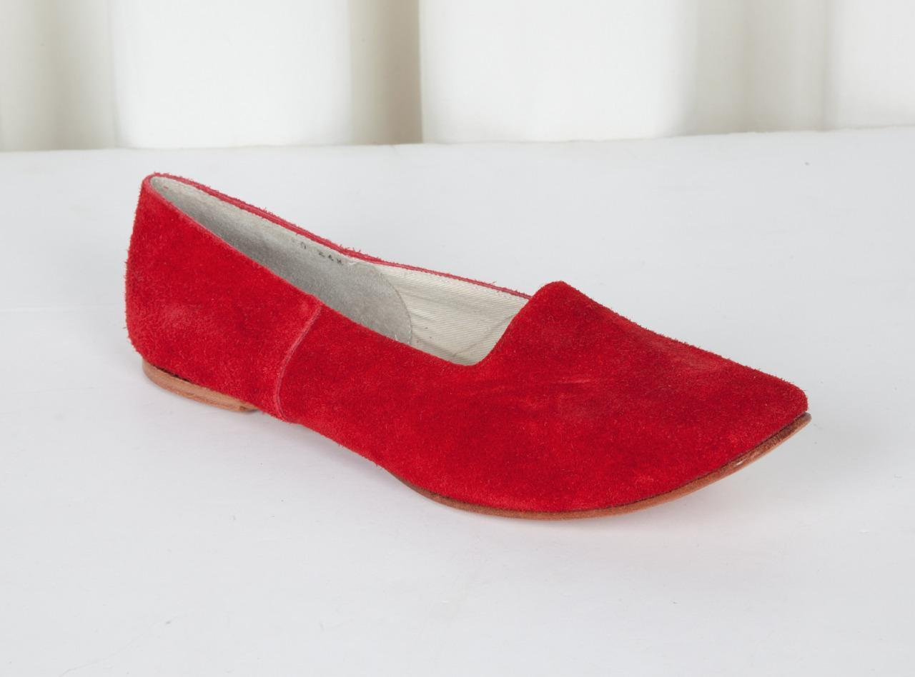 COMME DES GARCONS Donna Red Suede Square-Toe Slip-On Loafer Flat 7.5-24.5 NEW