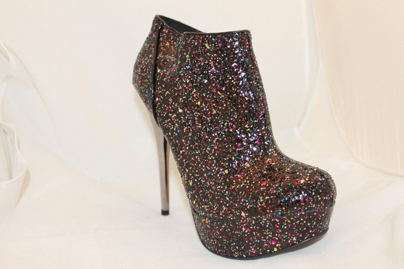 Stiletto Ankle Booties Stylish Glittery Boots Black Metallic Heels Women's Shoes