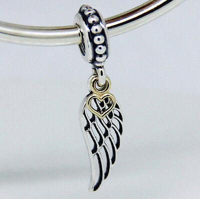 ANGEL WING & HEART 925 Sterling Silver Solid Dangle Charm Bead for bracelet