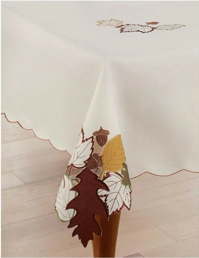 Celebrate Fall Together Leaf Cut Out Tablecloth, NEW