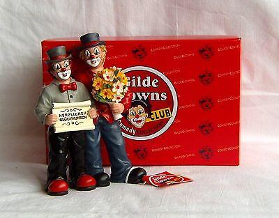Gilde Clown Paar Herzlichen Glückwunsch H. 14 cm Neu Neuheit v. GILDE Handwerk