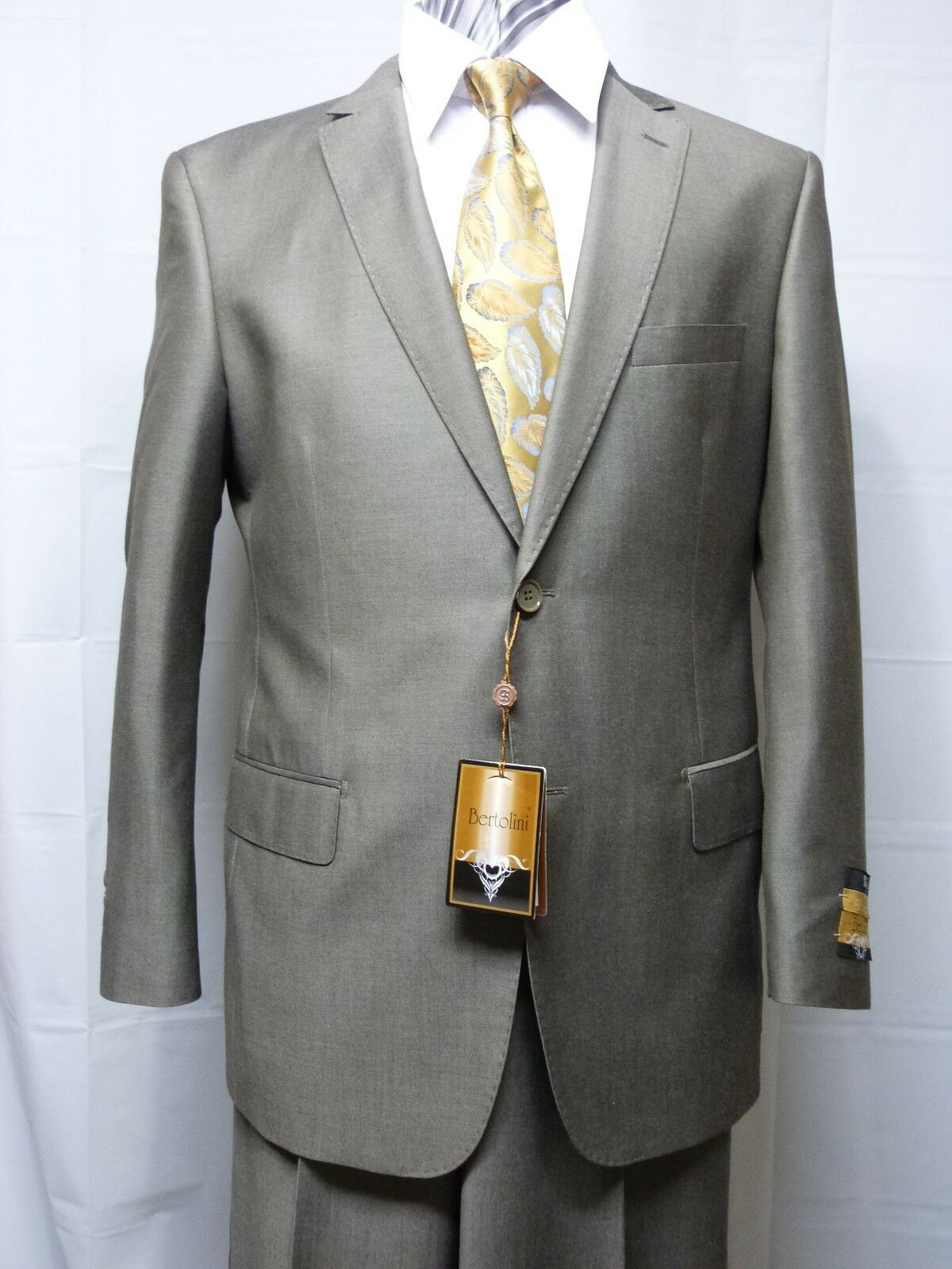 Bertolini Men's Suit,Two Button, Silk Wool Blend Light Olive-NWT