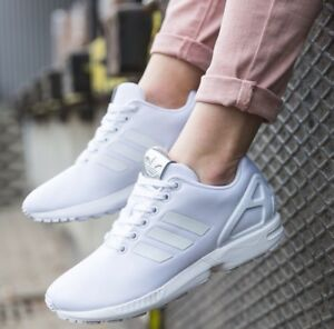 new concept 666ab c9c7c Details about ADIDAS Originals ZX Flux BB2262 WOMEN'S RUNING TRAINING SHOES  White/silver