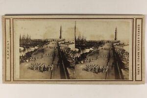 Italia-Napoli-Il-Port-Foto-Sommer-amp-Belhes-Napoli-Stereo-Vintage-Albumina-c1865