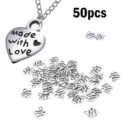 Sculpture Hearts for DIY Handmade Jewelry Accessories Heart Charm Pendants 50Pcs