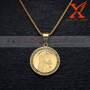Stainless steel gold plated jesus round pendant necklace 24 3mm box image is loading stainless steel gold plated jesus round pendant necklace aloadofball Images