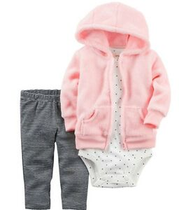 Carter/'s NWT 12M Infant Girl Fleece Hooded Cardigan Bodysuit Pant set