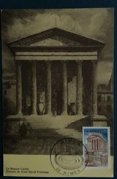 1 Carte Postale 1981 Fdc 1er Jour Nimes Maison Carree Collection