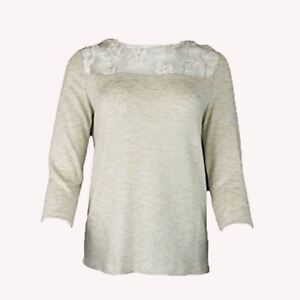 EX-M-amp-S-Marks-And-Spencer-Netz-Hals-Perle-Blume-3-4-Armel-Pullover