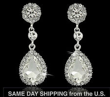 Luxury Twinkling 5cm Long Tear Drop Big Drip Use Swarovski Crystal CZ Earrings