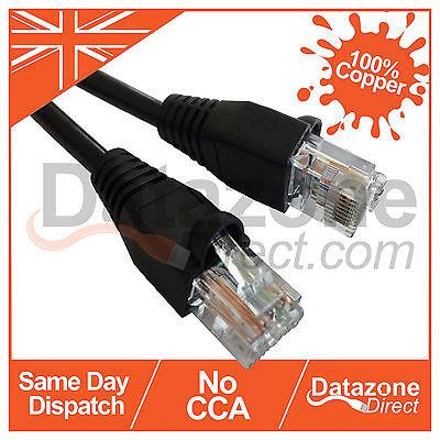 80m Black External Outdoor Network Ethernet Cable Cat5e 100% Copper RJ45