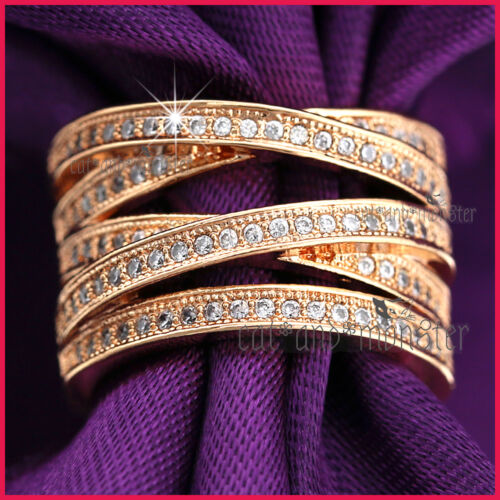 9CT ROSE GOLD GF LADY KISS CROSS WEDDING DRESS COCKTAIL CRYSTALS BAND RING GIFT