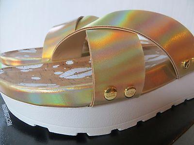 NEW Womens Juicy Couture Metallic Crisscross Platform Sandals Size 8