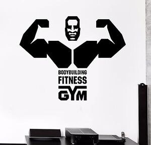 Vinyl Wall Decal Bodybuilding Gym Fitness Word Muscled