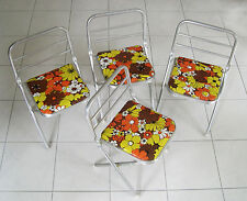 4 mid century pop art, flower power eames vtg children's folding aluminum chairs
