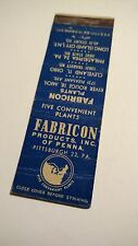 Fabricon Products Inc. Pittsburgh PA, matchbook Cover
