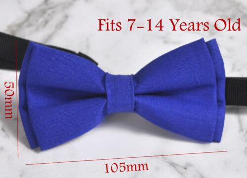 Boy Teenage 100/% Cotton MATTE Royal Blue  Indigo Bow Tie Bowtie 7-14 Years Old