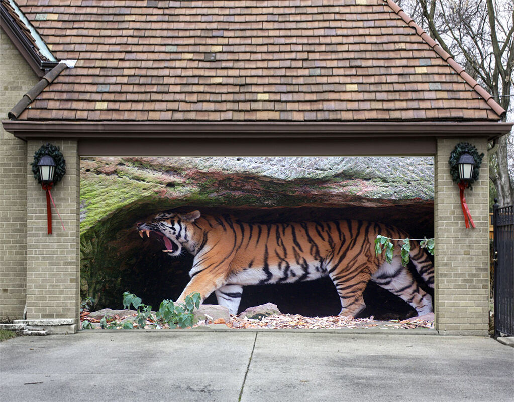 3D tiger animal Garage Door Murals Wall Print Decal Wall Deco AJ WALLPAPER AU