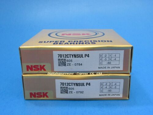 Matched Set of Two NSK 7012CTYNSULP4 Abec-7 Super Precision Spindle Bearings