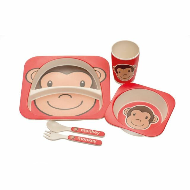 Bamboo Eco Baby Bowl Spoon Fork Set Monkey Cups, Dishes & Utensils
