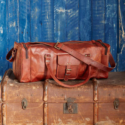 Vintage Genuine Brown Leather Travel Luggage Duffle Gym Bags Tote Goat Leather