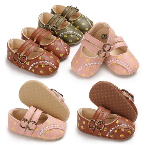 Newborn Baby Girl Pram Shoes Infant First Shoes Toddler Soft Sole Trainers 0-18M
