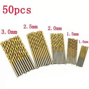 New 50Pc Titanium Coated HSS High Speed Steel Drill Bit Set Tool 1//1.5//2//2.5//3mm