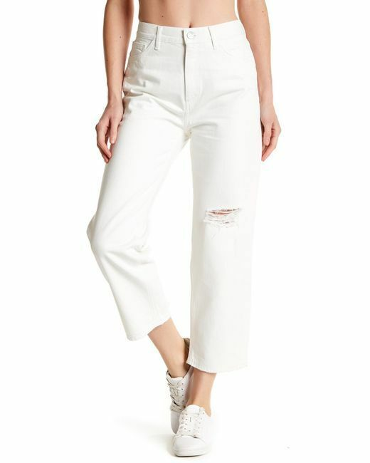 Mih Jeanne High-Rise Straight Slim-Fit Boyfriend Distressed Cropped White Jeans