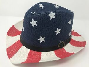 f6afa4174 Details about USA American Flag Hat WOMEN Man Straw Trilby Cap Summer Beach  Sun Panama L