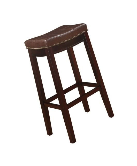 Cool Linon Claridge Patches Bar Stool 32 Inch Brown Andrewgaddart Wooden Chair Designs For Living Room Andrewgaddartcom