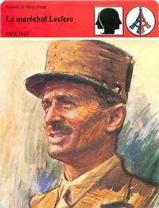 FICHE-CARD-Marechal-Leclerc-de-Hauteclocque-2e-D-B-WWII-1902-1947-France-90s