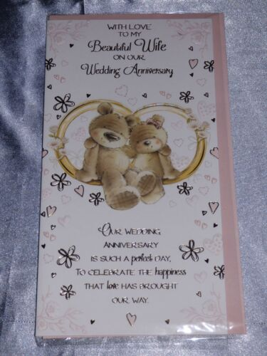 WIFE ANNIVERSARY CARD  WEDDING ANNIVERSARY CUTE TRADITIONAL MANY DESIGNS