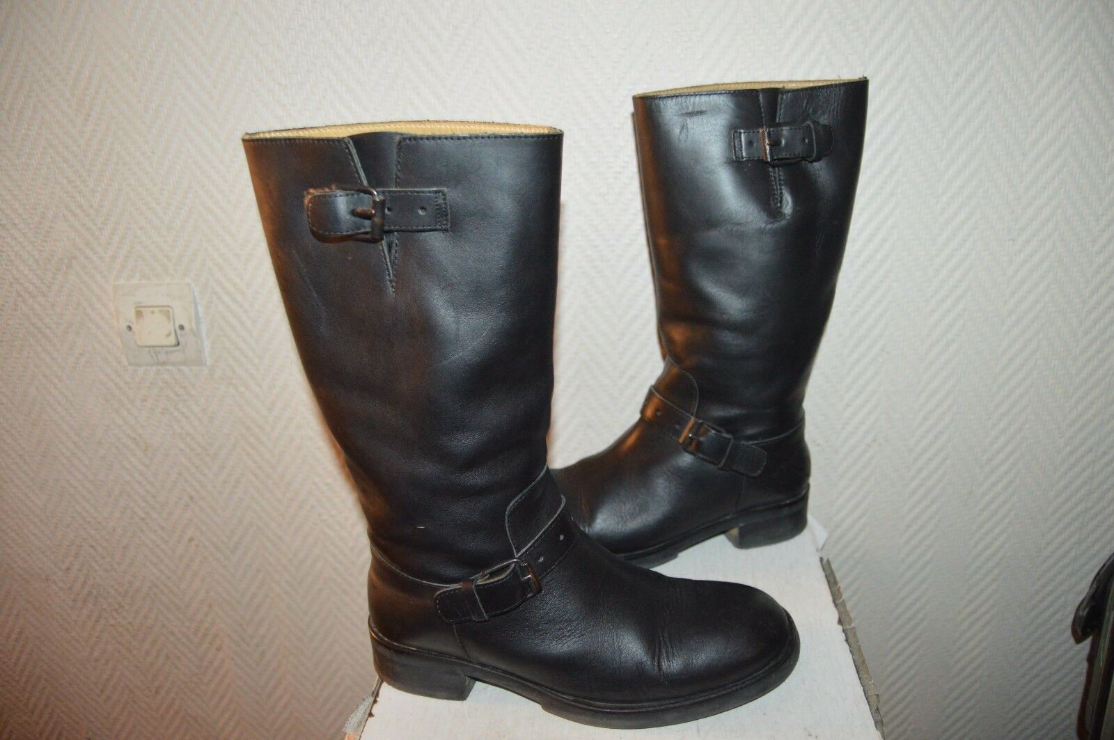BOTTES CUIR  MOSQUITOS  TAILLE 38,5 RANGERS LEATHER bottes bottes bottes BE UK 5