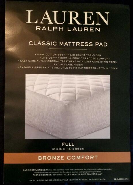 Ralph Lauren Bronze Comfort Classic Mattress Pad Full