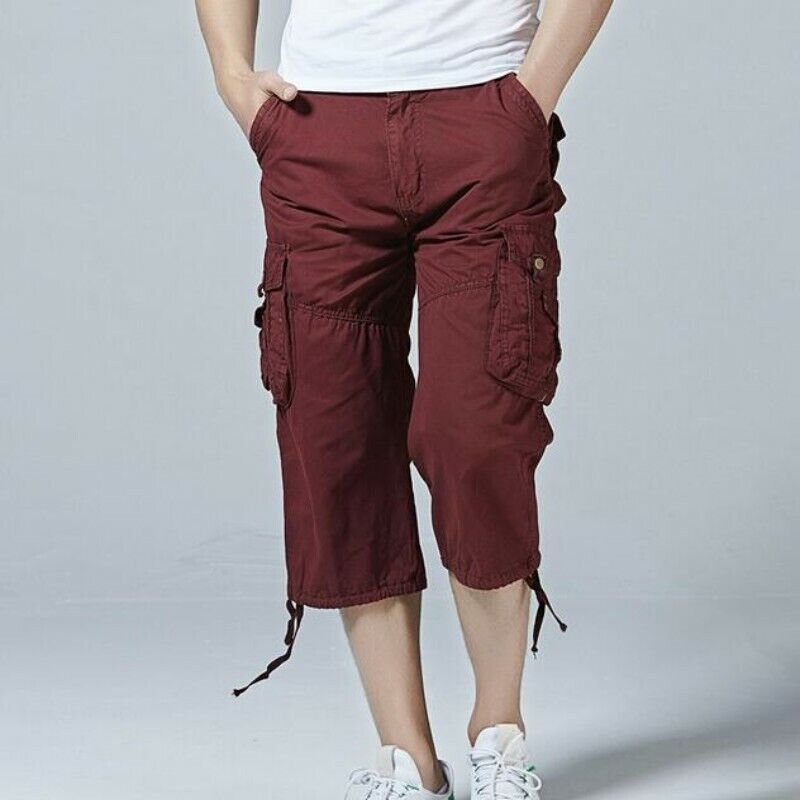 Men 100% Cotton Shorts Straight Leg Outdoor Leisure Short Cargo Pants Beach