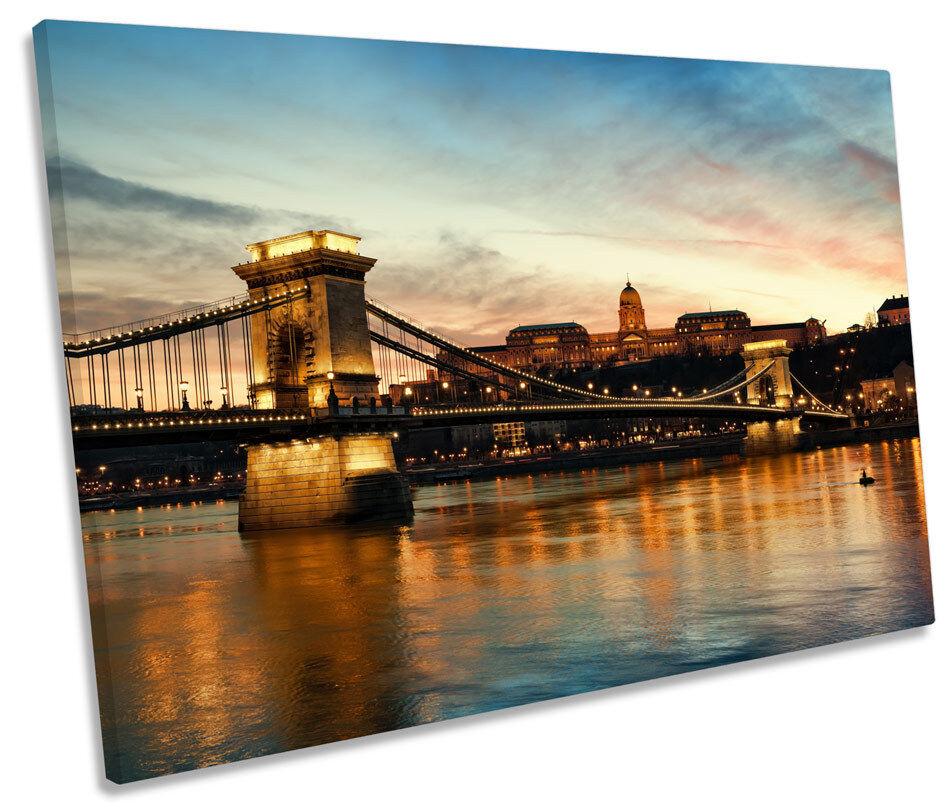 Chain Bridge Budapest Skyline SINGLE CANVAS WALL ART Framed Print