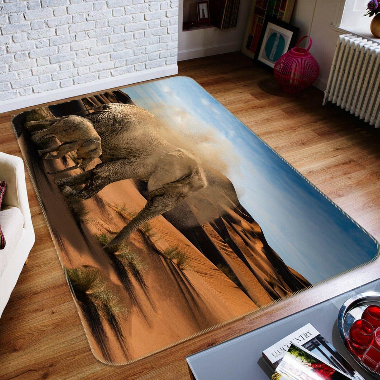 3d ELEFANTE deserto a043 animale gioco antiscivolo tappeto elegante foto TAPPETO Wendy