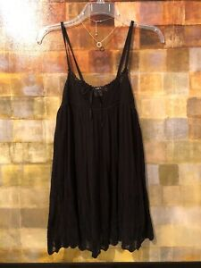 7-FOR-ALL-MANKIND-Black-Open-Knit-Sleeveless-Top-Size-S-4-6-EUC