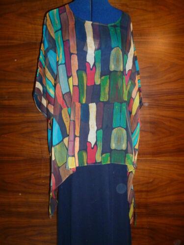 100/% silk georette floaty kaftan//tunic  Lijin/'s multicoloured oblongs  S//M  NEW