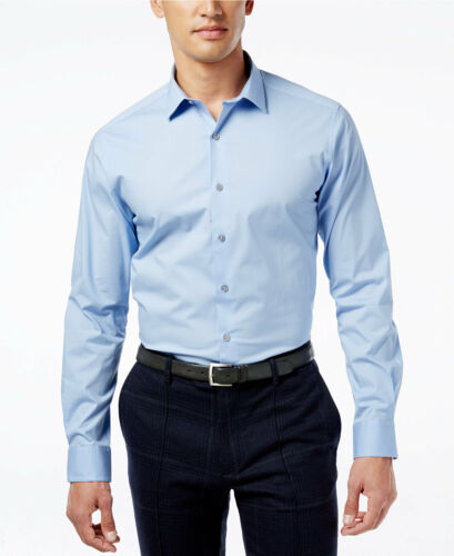 NWT $93 ALFANI Men SLIM-FIT STRETCH BLUE LONG-SLEEVE DRESS SHIRT 16-16.5 32//33 L