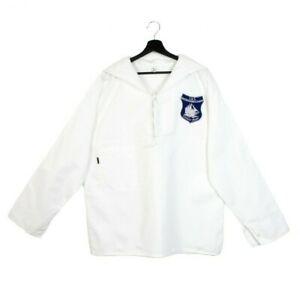 NOS 80s 90s Deadstock Vintage sailor top shirt sailing uniform navy white M L XL