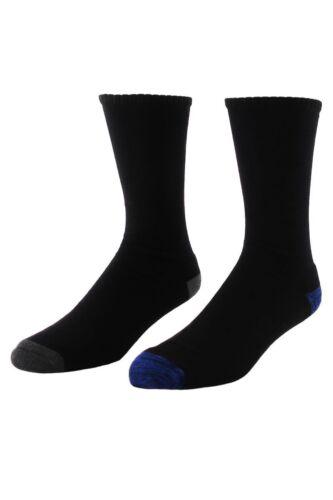 Men's All Day Plain Cushion Foot Crew Socks 2 Pack 7-10 Blue//Grey Heel /& Toe