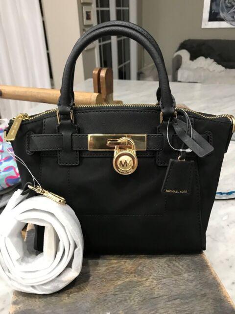 68ac819527327 Michael Kors Hamilton Nylon Medium Top-Zip Messenger Bag   Mini Satchel  Black