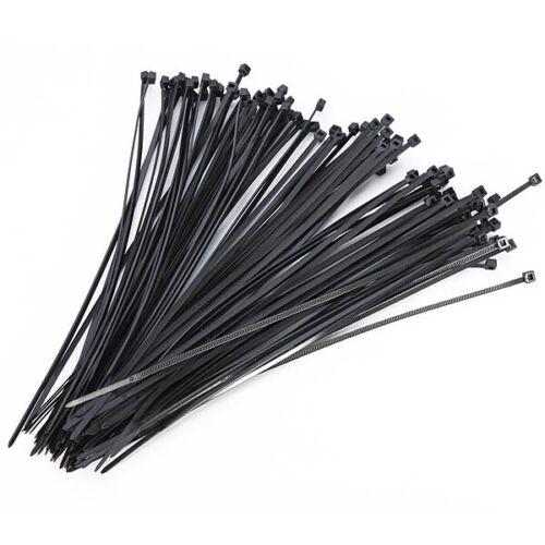 """100PCS 8/"""" 2.5x200MM Noir Nylon Plastique Verrouillage câble Cravates Zip Wire Wrap cordons"""