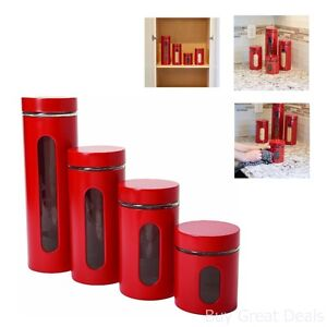 Image Is Loading Red Kitchen Canister Set 4 Piece Cylinder Containers