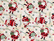 DEBBIE MUMM PEPPERMINT SANTA TOSS  CHRISTMAS  HOLIDAY 100% COTTON FABRIC YARDAGE