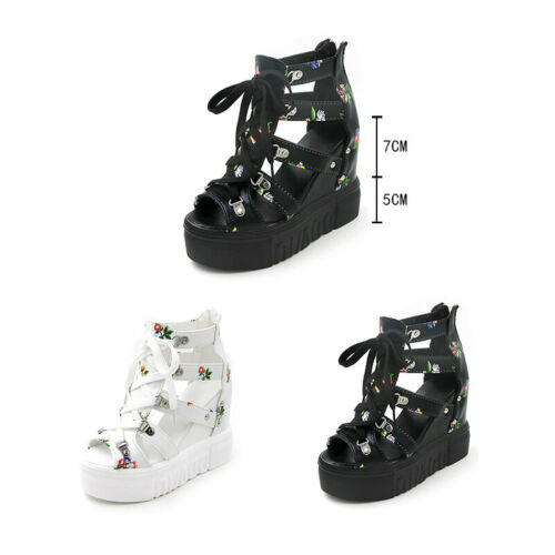 Womens Ladies Hidden Wedge Platform Sandals Cut Out Boots Floral Lace Up Shoes