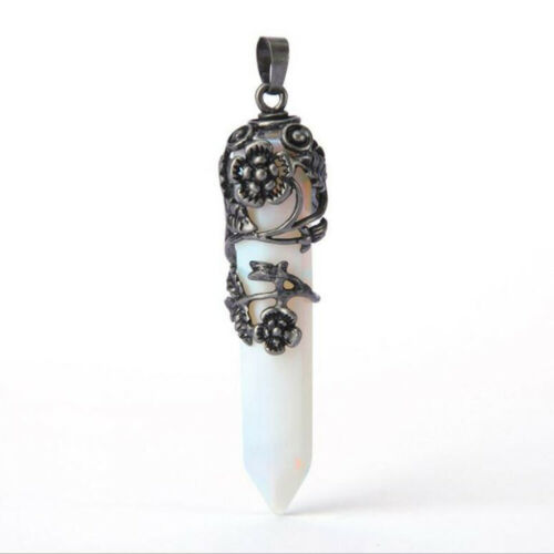 Natural Gemstone Hexagonal Pointed Reiki Chakra Raw Pendant Bead of Healing Qi