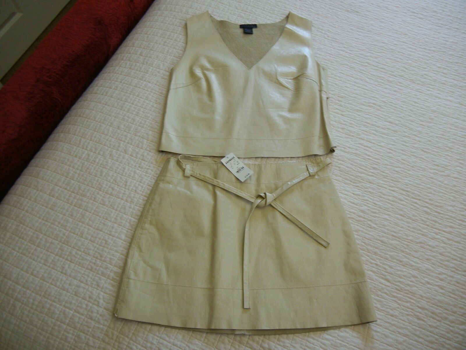Womens NWT EXPRESS Tan Leather Skirt & Tank Shirt SetLined Soft & Stunning